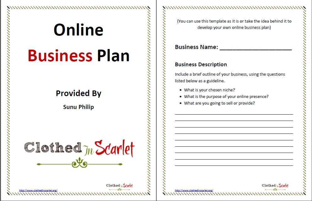 Day 5: Online Business Plan Template {Free Download} | Clothed In ...