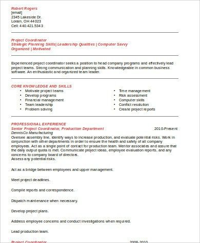 Sample Project Coordinator Resume - 8+ Examples in Word, PDF