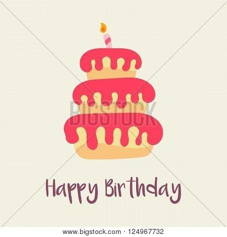 birthday cake icon. Birthday card template. Cartoon flat design ...