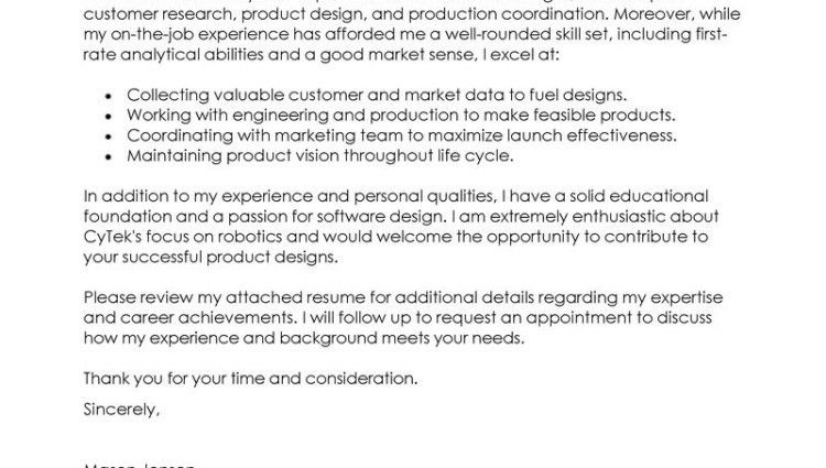 Assistant Product Manager Cover Letter