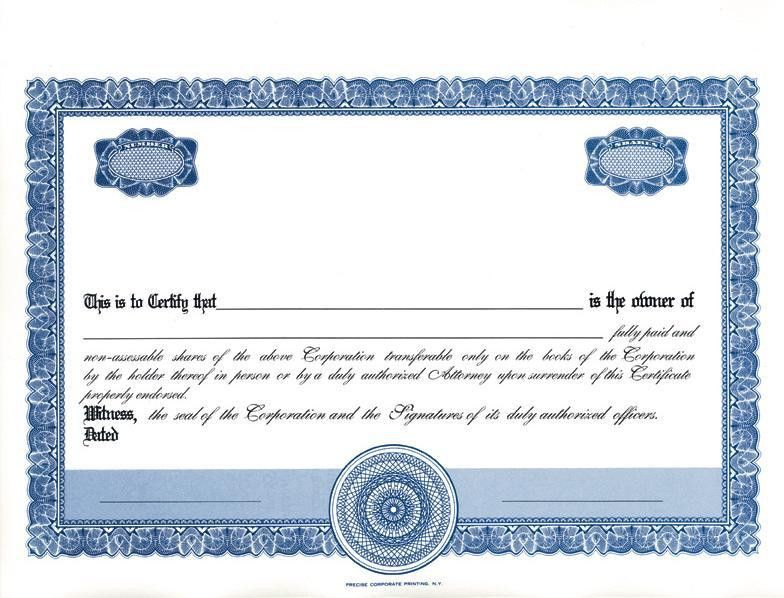 Share Certificate Template DOC | Blank Certificates