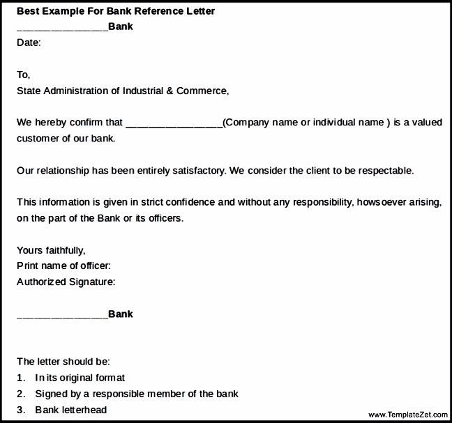 Best Example For Bank Reference Letter | TemplateZet