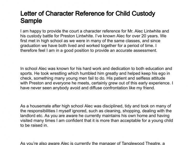 sample character reference for child custody | Professional ...