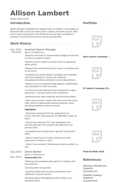 Branch Manager Resume samples - VisualCV resume samples database