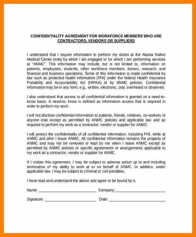 Vendor Confidentiality Agreement. 7+ Vendor Agreement | Army Memo .