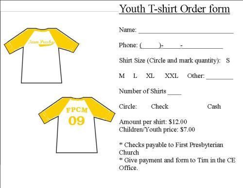 Printable T Shirt Order Form Template {PDF, Word, Excel} | Online ...