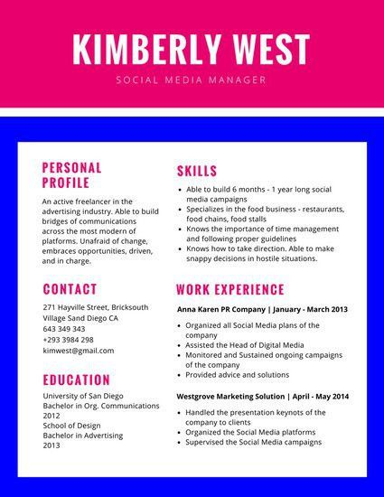 Pink and Blue Simple Colorful Resume - Templates by Canva