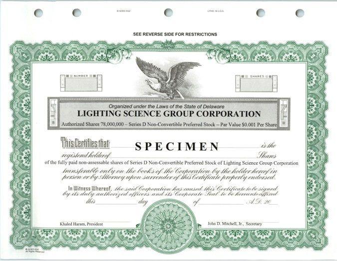 Specimen Series D Non-Convertible Preferred Stock Certificate