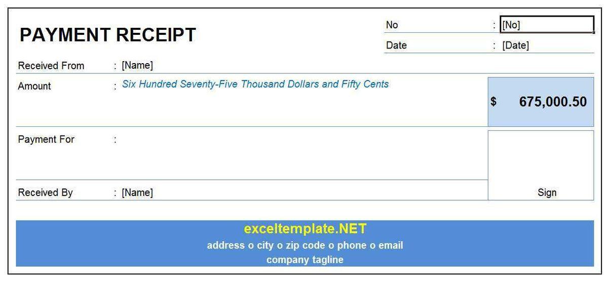Payment Receipt | Excel Templates