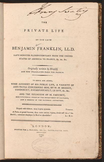 Benjamin Franklin's Autobiography: Finding Franklin, A Resource ...