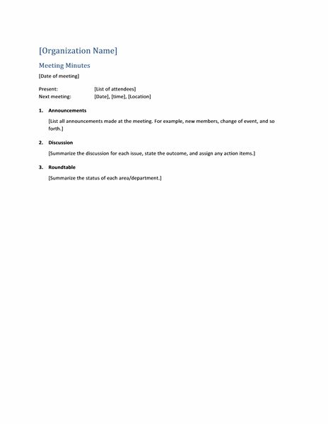 Meeting minutes (short form) - Office Templates