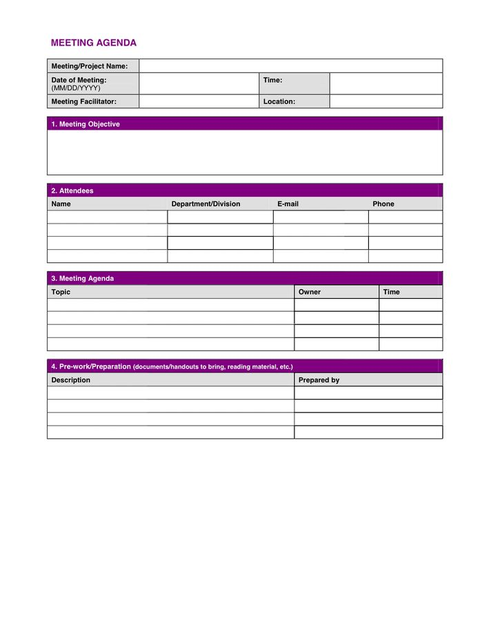 Project Meeting Minutes Template in Word and Pdf formats