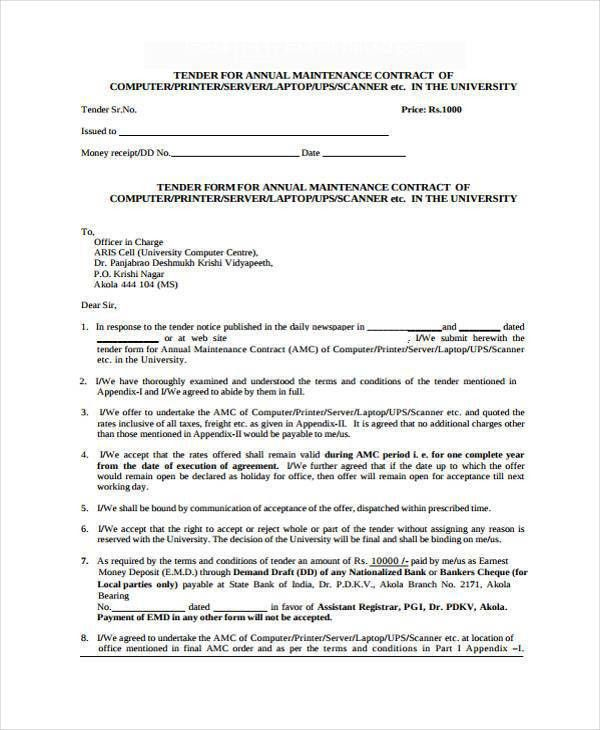 Sample Maintenance Contract Template. It Support Contract Template ...