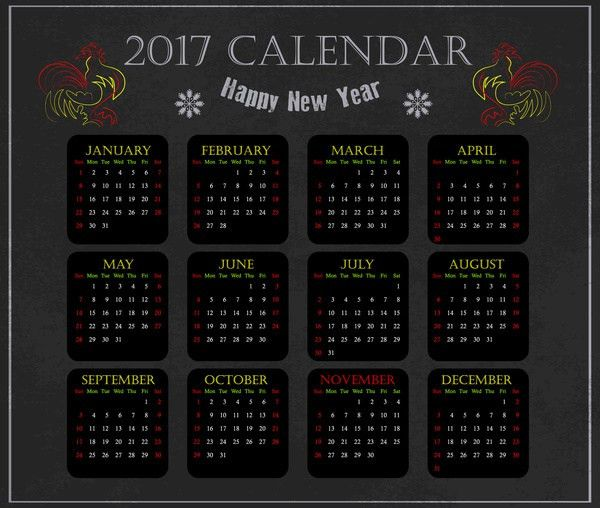 Calendar 2017 illustrator free vector download (217,757 Free ...