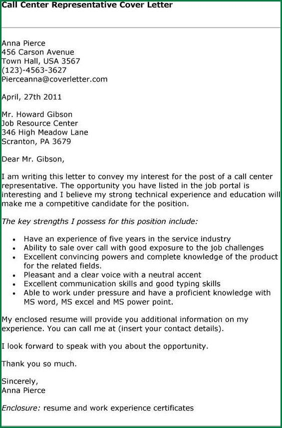 13 Customer Service Call Center Cover Letter | applicationsformat.info