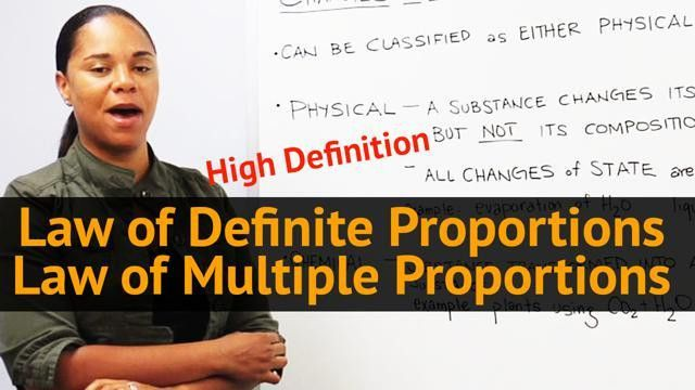 Law of Definite Proportions - Law of Multiple Proportions ...
