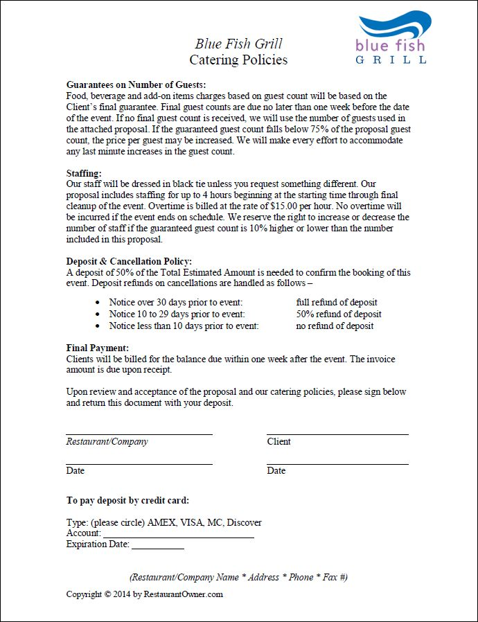 Catering Agreement Template