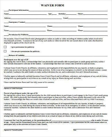 Sample Youth Waiver Forms - 8+ Free Documents in Word, PDF