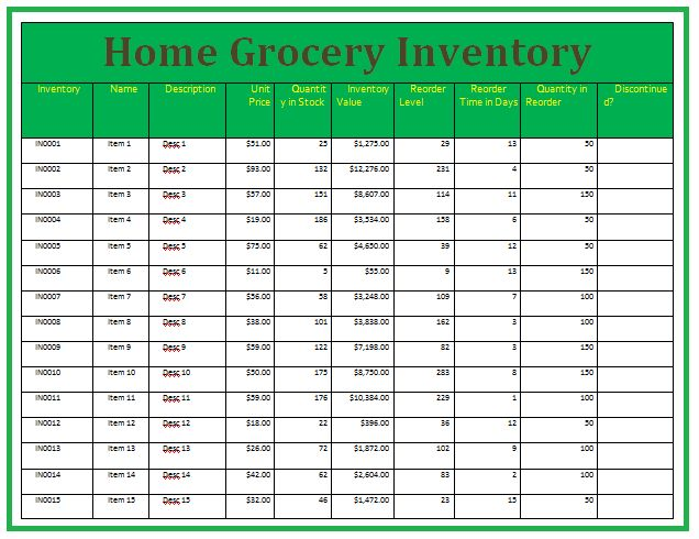 home inventory template - Template
