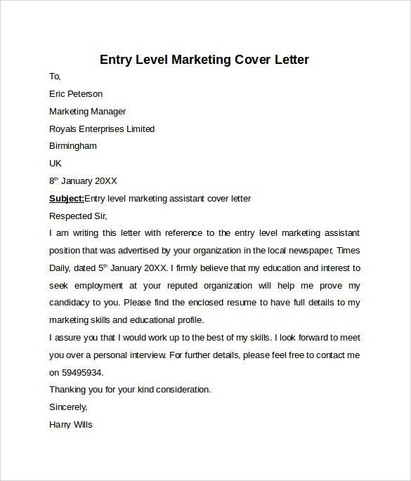 entry level marketing cover letter sample how to write a cover ...