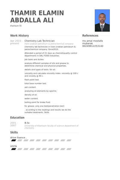 Lab Technician Resume samples - VisualCV resume samples database