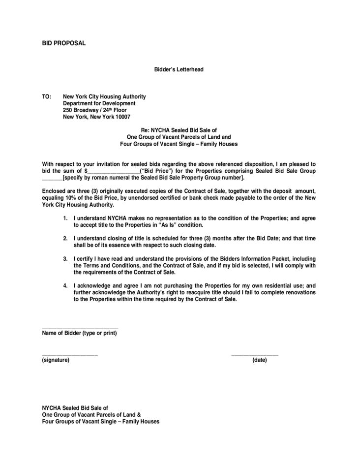 6+ Bid Proposal Templates – Proposal Template