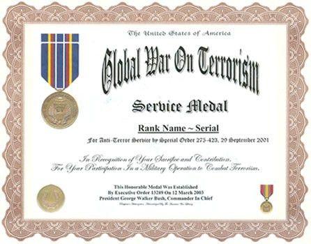 Global War On Terrorism Service Medal Display Recognition