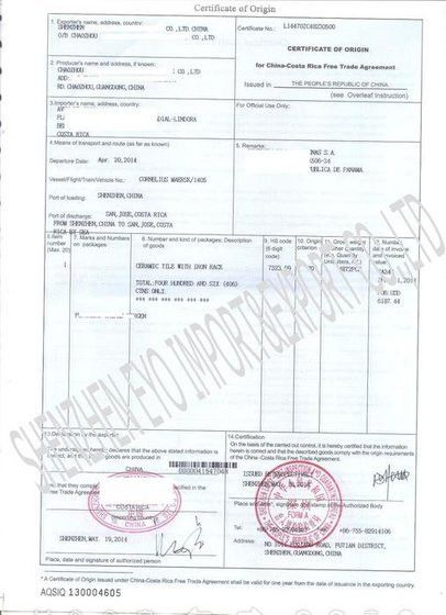 Certificate of Origin - Shenzhen Eyo Import & Export Co.,Ltd.