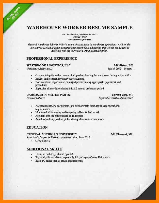 7+ warehouse job resume | authorized letter