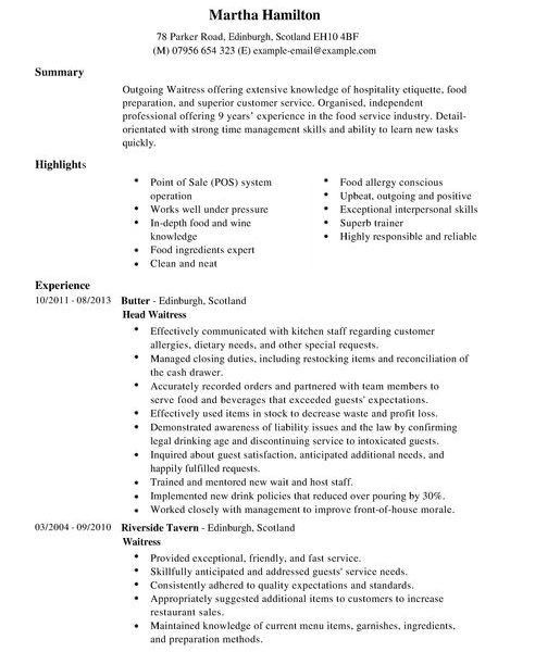 Food Service Skills Resume, restaurant resume templates. objective ...