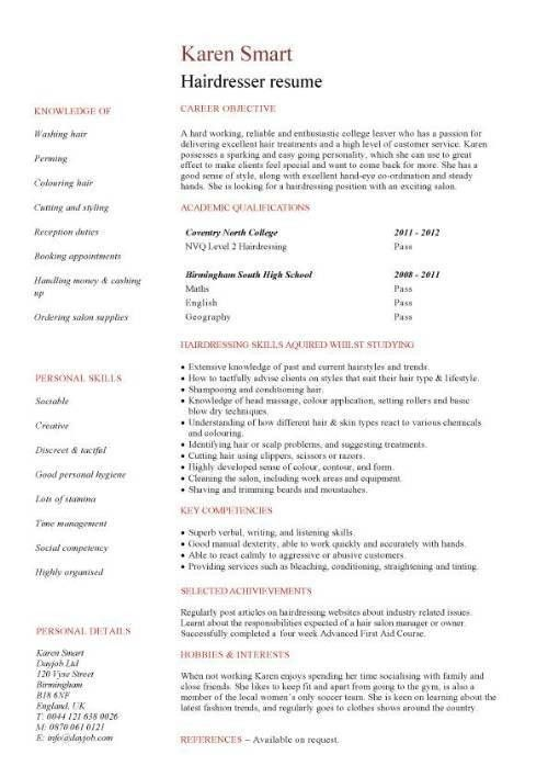 Student resume targeted at a hairdresser vacancy | Jess ...