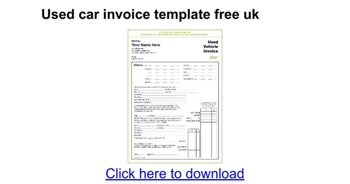 Used car invoice template free uk - Google Docs