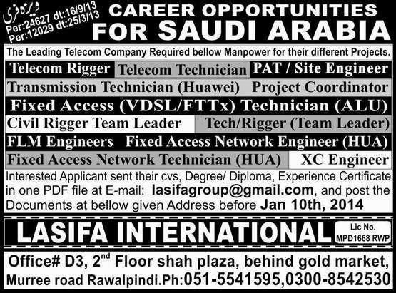 Site Engineer Job, Saudi Arabia Telecom Company Job, Telecom ...