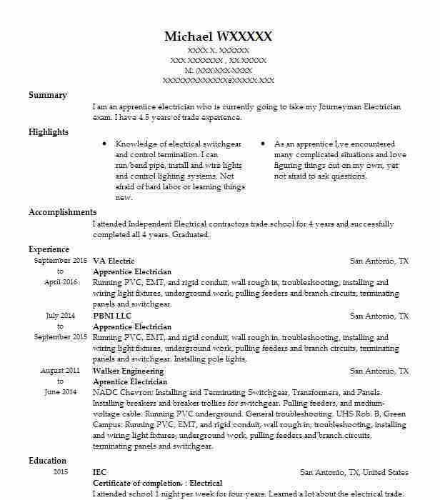 Best Apprentice Electrician Resume Example | LiveCareer