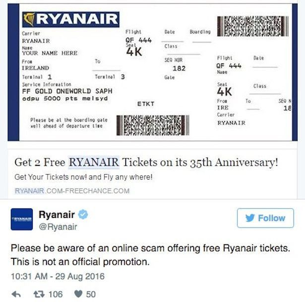 Ryanair warns Facebook users over '35th anniversary' scam offering ...