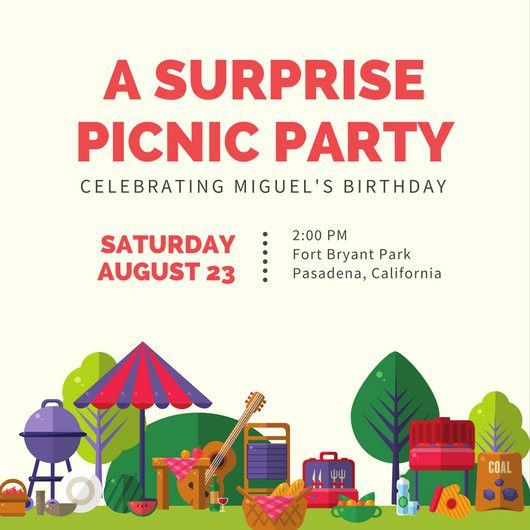 Colorful Picnic Surprise Party Invitation - Templates by Canva