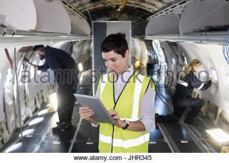 female aircraft maintenance engineer in the workshop Stock Photo ...