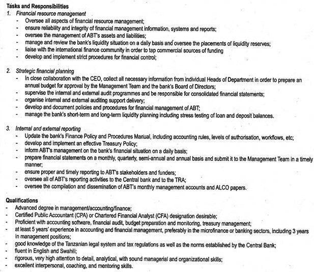 Job Description of Financial Manager - ORDNUR TEXTILE AND FINANCE