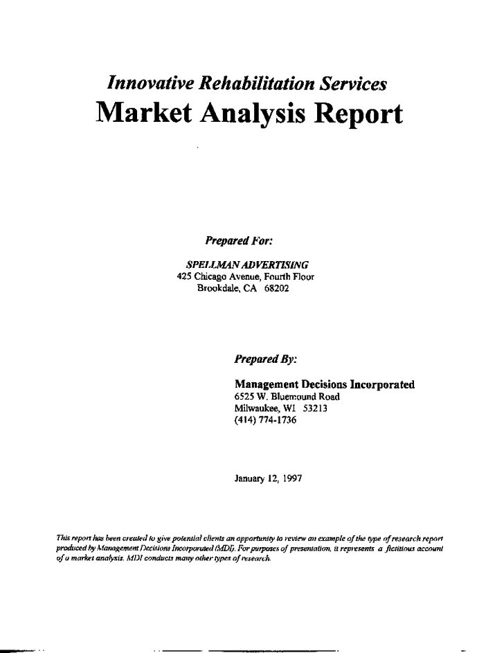 Market Analysis Report (Example Research) - Management . Free Download