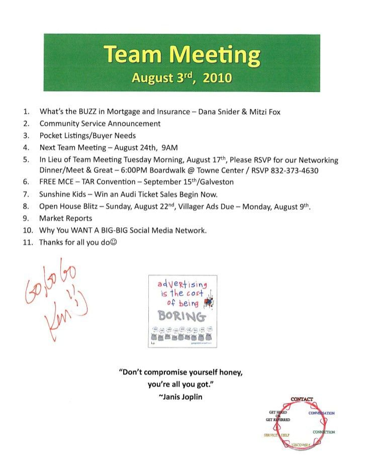Real Estate Sales Meeting Agenda - Prudential Gary Greene, Realtors /…