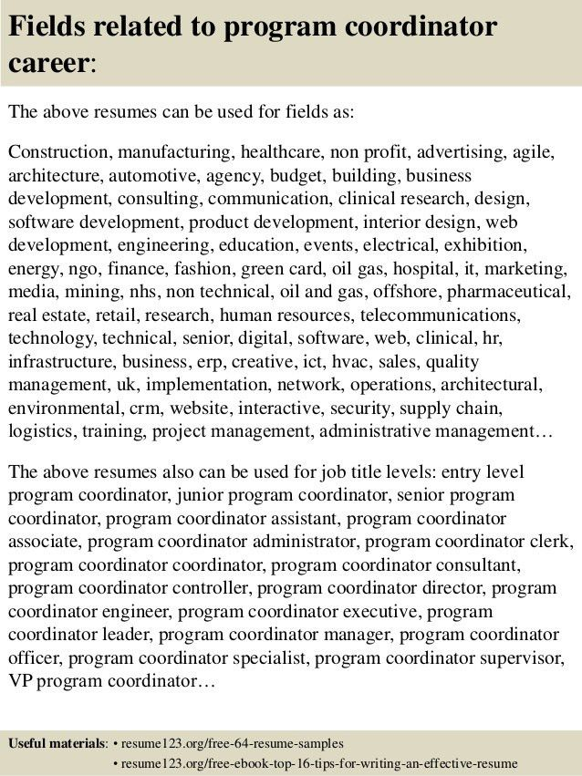 Top 8 program coordinator resume samples
