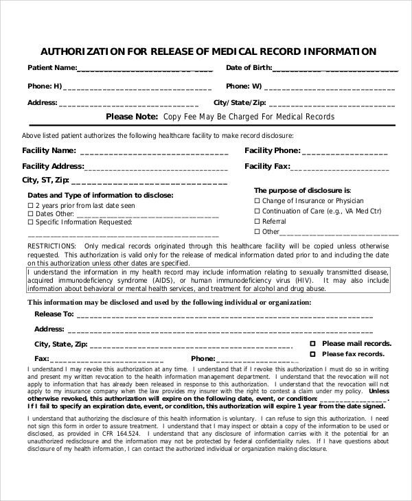 Sample Medical Authorization Release Form   8+ Examples In Word, PDF