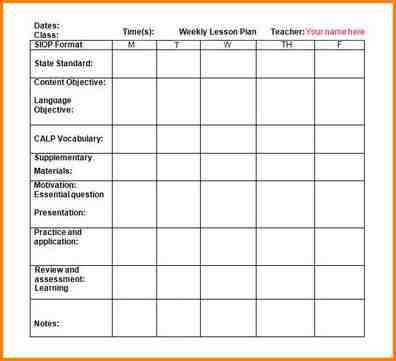 8+ weekly lesson plan template word | writable calendar