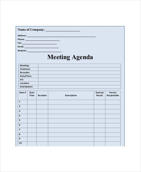 Blank Meeting Agenda Template – 10+ Free Word, PDF Documents ...