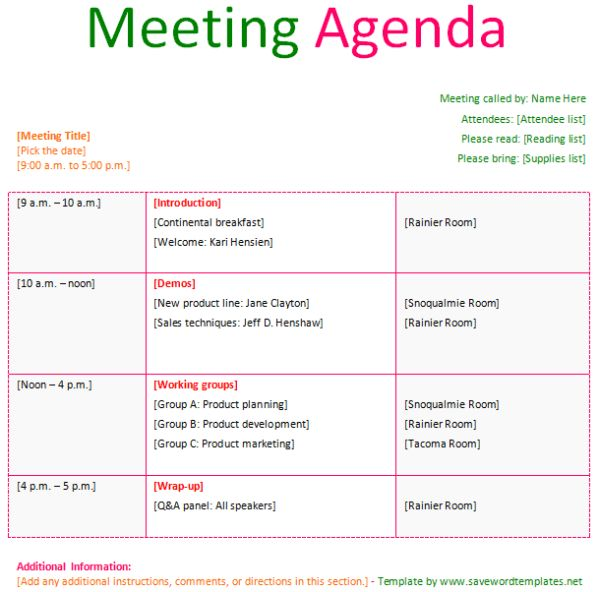 Meeting Agenda Template - Save Word Templates