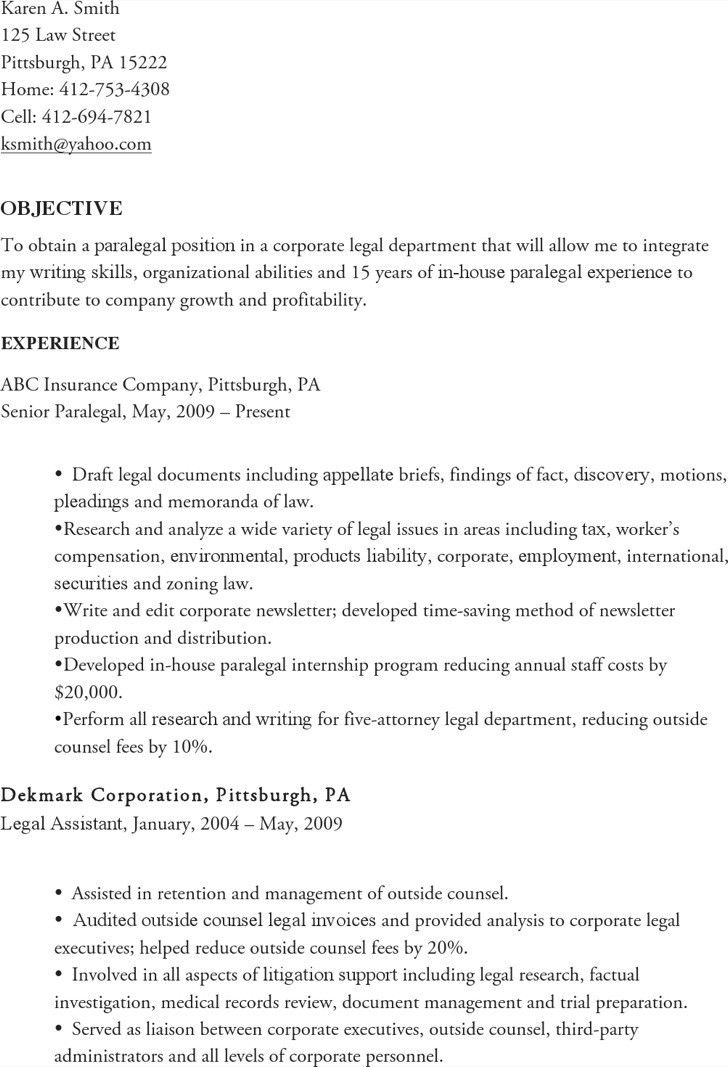 senior paralegal resumes
