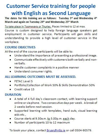 SKILLS BASED TRAINING COURSES - North Tipperary Leader Partnership