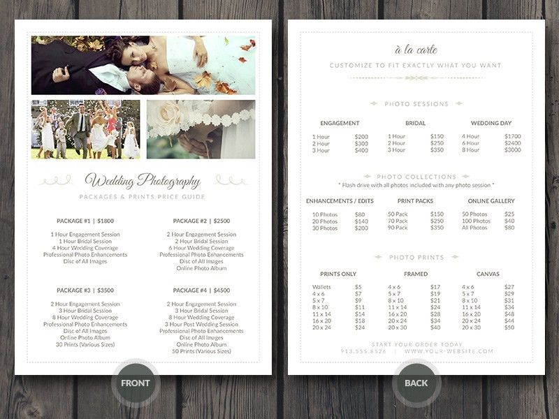 Wedding Photographer Pricing Guide / Price Sheet List 5x7 | Cursive Q