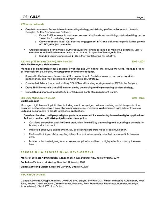 Digital Marketing Manager Resume Samples & Examples