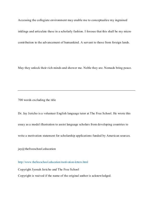 Motivation letter - motivation essay : An example